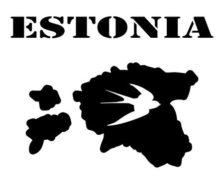 カードとエストニアのシンボルの白いシルエットの黒いシルエット
