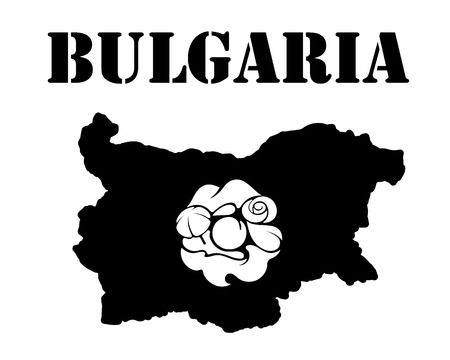 Black silhouette of a card and white silhouette of a  Bulgaria symbol