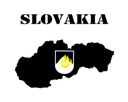 슬로바키아 기호의 카드 및 흰색 실루엣의 검은 실루엣