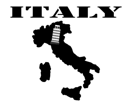 Black silhouette of a card and white silhouette of a Italy symbol
