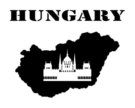 Black silhouette of a card and white silhouette of a Hungary symbol Illusztráció