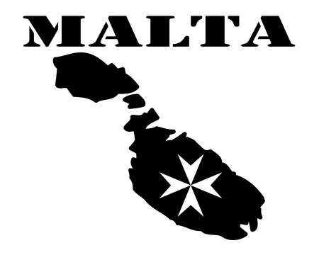 Black silhouette of a card and white silhouette of a Malta symbol