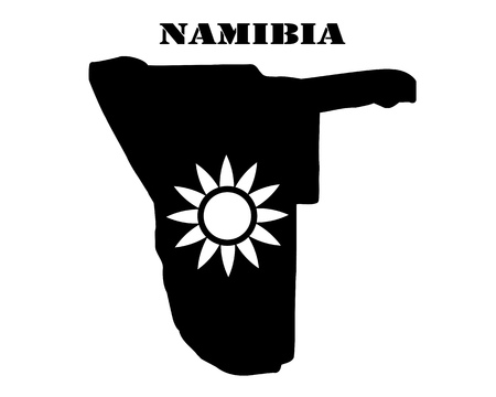 Black silhouette of a card and white silhouette of a  Namibia  symbol
