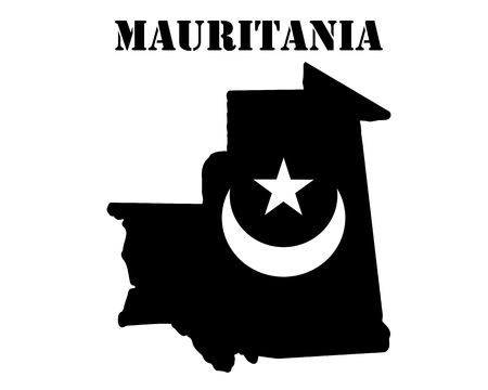 Black silhouette of a card and white silhouette of a Mauritania  symbol