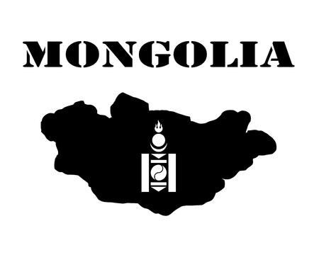 Zwart silhouet van een kaart en wit silhouet van een Mongoliet symbool Stock Illustratie
