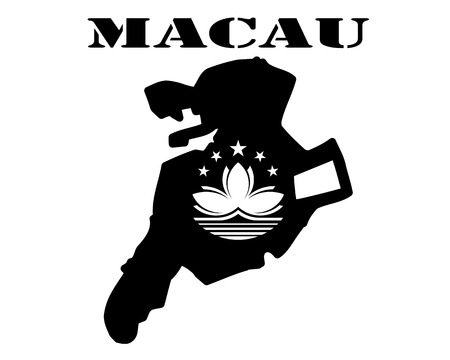 Black silhouette of a card and white silhouette of a Macau symbol Illustration