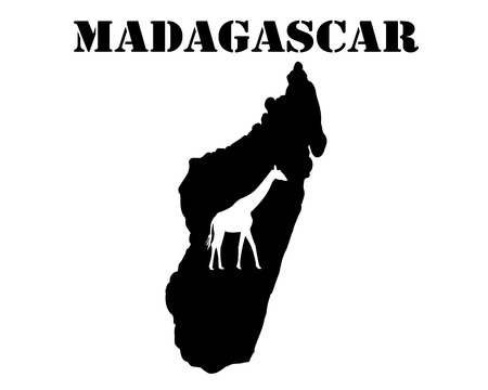 Black silhouette of a card and white silhouette of a Madagascar symbol Иллюстрация