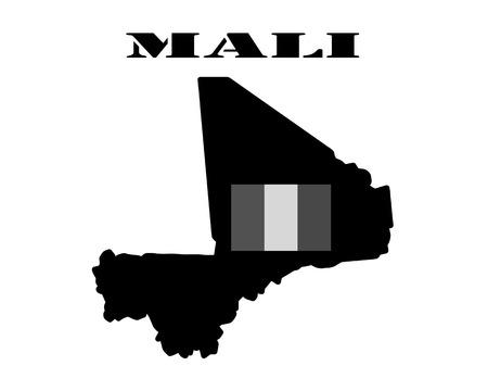 mali: Black silhouette of a card and white silhouette of a Mali  symbol