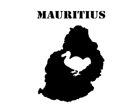 Black silhouette of a card and white silhouette of a  Mauritius  symbol