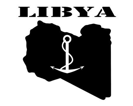 Zwart silhouet van een kaart en wit silhouet van een Libië symbool