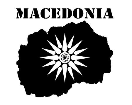 Zwart silhouet van een kaart en wit silhouet van een Macedonië symbool