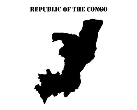 Schwarze Silhouette der Karte und die weiße Silhouette der Insel der Republik Kongo Symbol Standard-Bild - 81801035