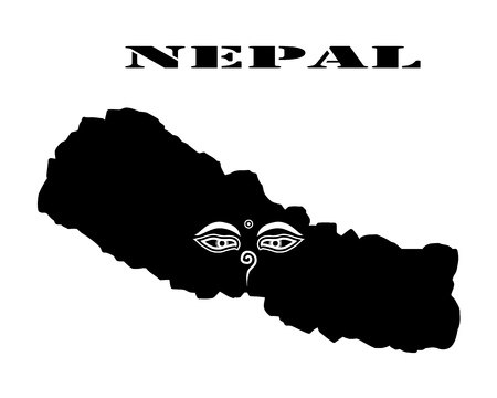 Black silhouette of the map and the white silhouette of the Isle of Nepal symbol
