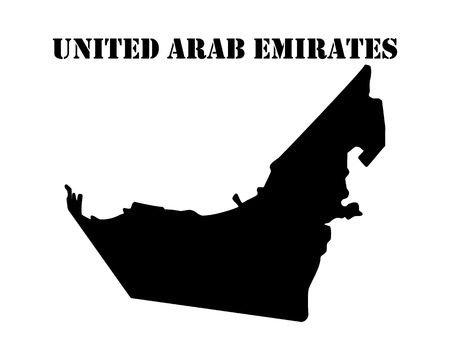 Black silhouette of the map and the white silhouette of the Isle of  United Arab Emirates symbol Ilustração