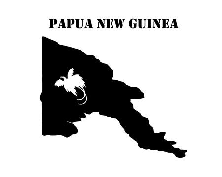 Black silhouette of the map and the white silhouette of the Isle of  Papua New Guinea symbol