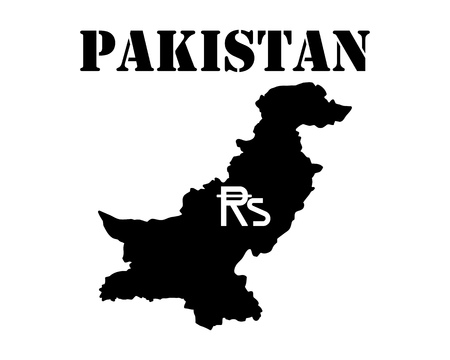 Black silhouette of the map and the white silhouette of the Isle of Pakistan symbol