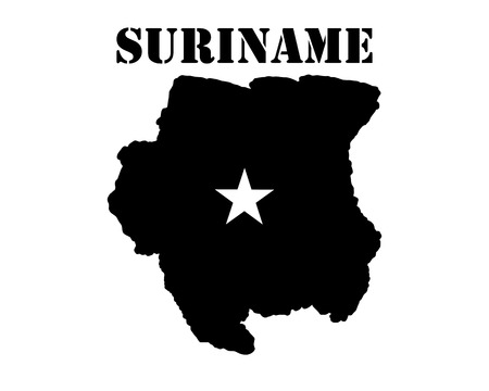 Black silhouette of the map and the white silhouette of the Isle of Suriname symbol