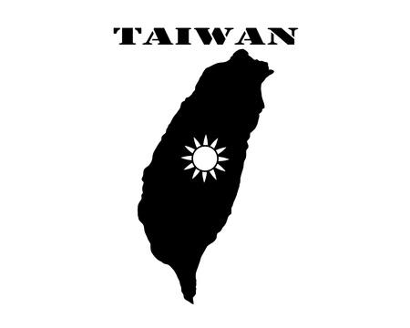 지도의 검은 실루엣과 대만의 섬 심볼의 흰색 실루엣
