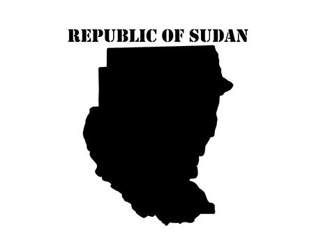 Zwart silhouet van de kaart en het witte silhouet van het symbool van de Republiek Soedan Stock Illustratie