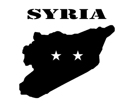 Black silhouette of the map and the white silhouette of the Isle of Syria symbol Illustration