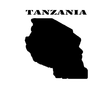 Black silhouette of the map and the white silhouette of the Isle of  Tanzania symbol