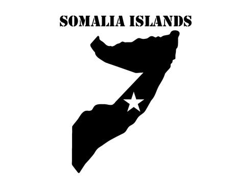 Zwart silhouet van de kaart en het witte silhouet van het symbool van het eiland Somalië Stock Illustratie