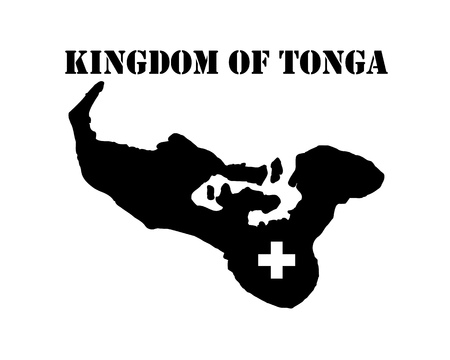Black silhouette of the map and the white silhouette of the Isle of Kingdom of Tonga symbol