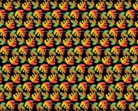 Pattern with different leaves on a black background Ilustracja