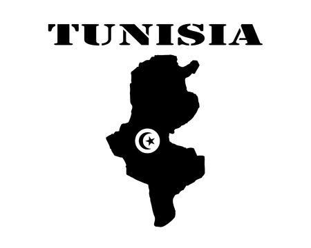 Zwart silhouet van een kaart en wit silhouet van een Tunesië symbool