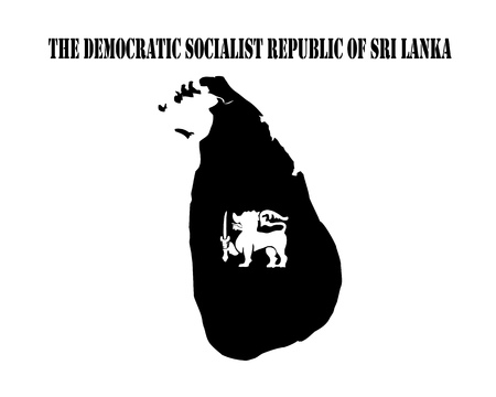 Black silhouette of the map and the white silhouette of the Isle of Democratic Socialist Republic of Sri Lanka symbol Stock Photo