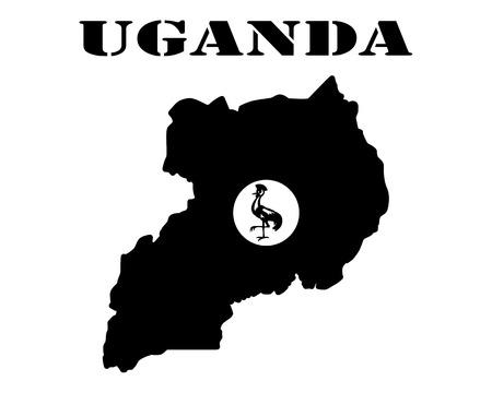 Zwart silhouet van de kaart en het witte silhouet van het eiland Oeganda symbool Stockfoto