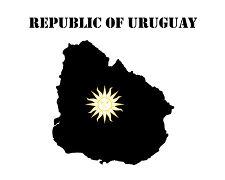 Black silhouette of the map and the white silhouette of the map of the Republic of Uruguay symbol