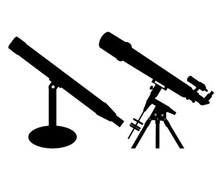 Two different black telescope on a white background Ilustração