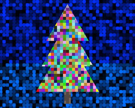 異なる色の正方形のクリスマス ツリー。