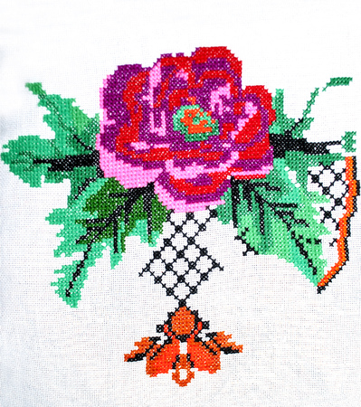 embroidered rose flower with colored threads