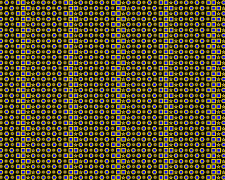 Background of different geometric shapes and patterns on a black background Иллюстрация