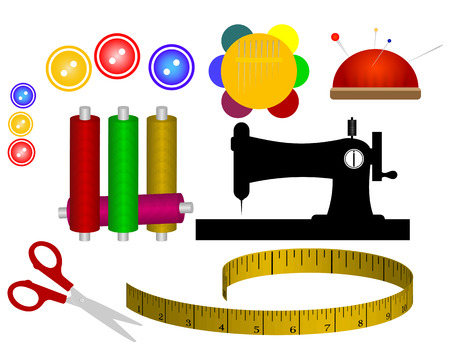 spool thread needle sewing machine scissors meter Illustration