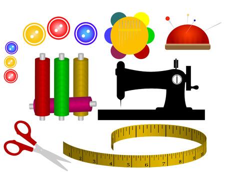 spool thread needle sewing machine scissors meter Stock Illustratie
