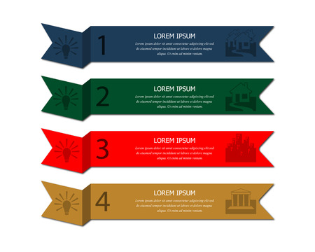 Four banners of different colors with text and pictures