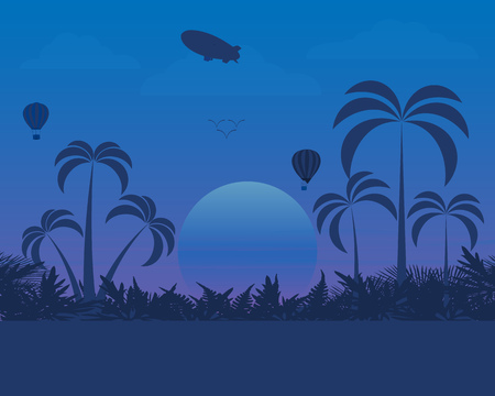 Landscape design of nature in the evening with a Zeppelin flying balloons