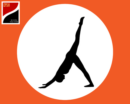 Pose of asana yoga woman in a circle in an orange square