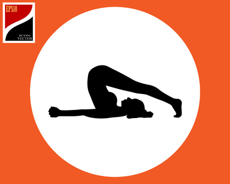 Yoga vector clipart exercise in a circle in an orange square