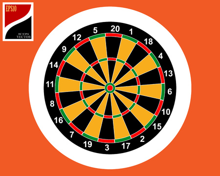 dart game in a white circle in the orange square icon