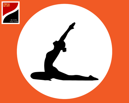 Hatha yoga for beginners exercise pose of a woman in a circle in an orange square Illustration