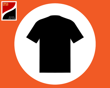 black T-shirt in a white circle in an orange square Vectores