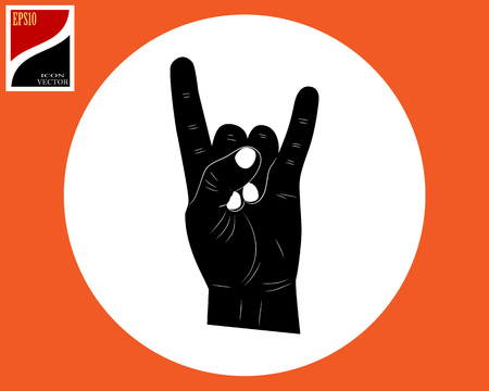 the hand and two fingers are extended upwards in the circle by the sign Ilustração