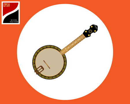 banjo stringed American instrument in a circle with a sign