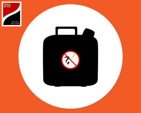 canister with fuel and a prohibitory sign do not smoke in a circle Stock Illustratie