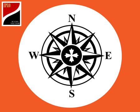orientation of the compass in the circle with a sign Illustration