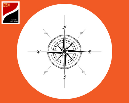 A marine compass of direction in a circle with a sign